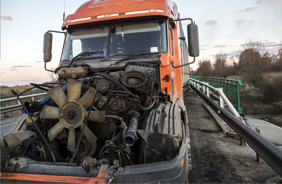 A semi-truck which may be involved in a serious car accident